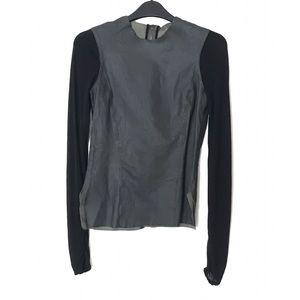 HELMUT LANG Leather Long Sleeve Shirt Top P (XS)
